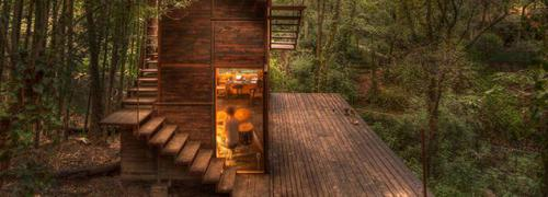 suspended treehouse by talleresque illuminates the surrounding forest in mexico | Construction Buzz #216